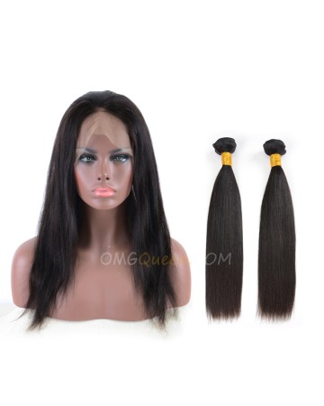 Yaki Straight One Pre-plucked 360 Lace Frontal With 2pcs Hair Weaves Bundle Deal Malaysian Virgin Hair [MBF05]