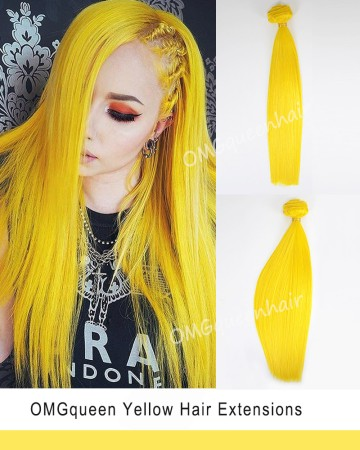 Hot Yellow Colorful Clip In Hair Extensions High Quality [ICP03]