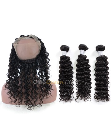 Good Quality Deep Wave One Pre-plucked 360 Lace Frontal With 3pcs Hair Weaves Bundle Deal Cheap Virgin Brazilian Hair [BTF06]