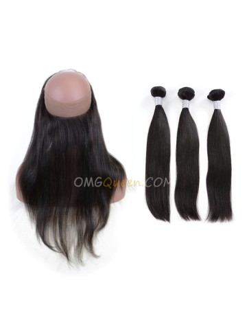 Silky Straight One Pre-plucked 360 Lace Frontal With 3pcs Hair Weaves Bundle Deal Virgin Brazilian Hair [BTF01]