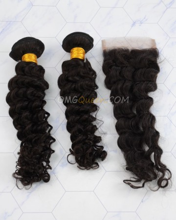 Clearance Natural Color Virgin Brazilian Hair Deep Wave Bundles and Closure [SD49]