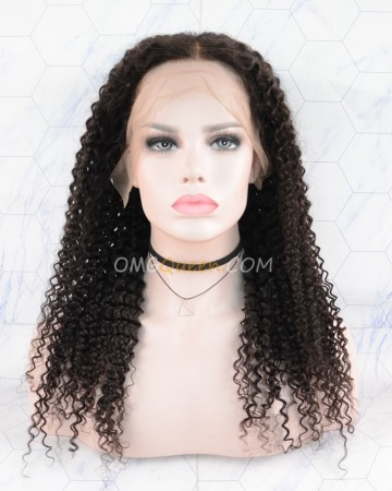Clearance Indian Virgin 18in Natural color 150% Density Kinky Curl Bob Lace Front  Wig [CS103]