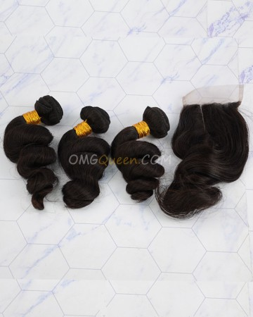 Clearance Natural Color Indian Virgin Hair Loose Wave Bundles and Closure [SD43]