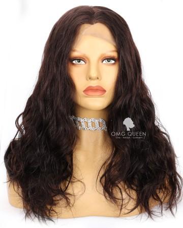 18in Wavy Natural Brown Lace Wig Widow Peak Hairline  [CS247]