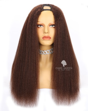Clearance #4 Light Brown 18in Kinky Straight Middle Part U part Wig 150% [CS237]