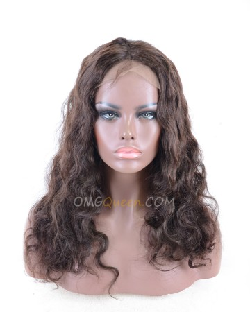 18in #2 Dark Brown Body Wave Lace Front Wig Brazilian Virgin Hair 130% Density [CS74]
