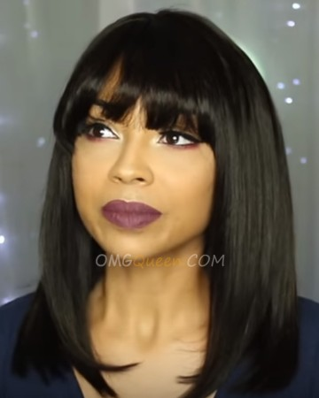 Nicki Minaj Hairstyle 150% Density Virgin Brazilian Light Yaki Bob Lace Wigs With Bangs [BMW11]