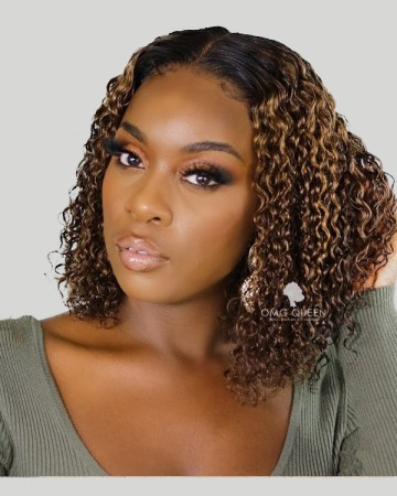 Brown Curly Hair with Balayage Highlight Brazilian Hair Bob Wigs [BMW34]