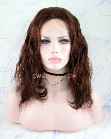 Clearance Virgin Brazilian Hair 12in #2 Color Body Wave Silk Base Lace Wig 150% Density [CS170]