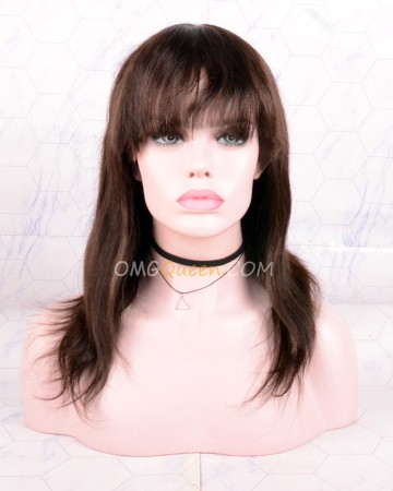 Clearance #2 Dark Brown 12in 130% Density Silky Straight Wigs with Bangs Glueless Lace Front Wig  [CS143]