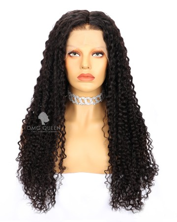 24in Yaki Straight Natural ColorIndian Virgin Hair Lace Front Wigs With 4x5 Silk Top 130% Density XS Size [CS19]