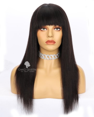 Clearance Lace Cut Off 16in Yaki Straight with Bangs Lace Front Wig[CS239]