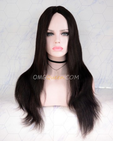 18in Natural Color Yaki Straight Virgin Brazilian CapF U shape Wig 200% Density [CS169]