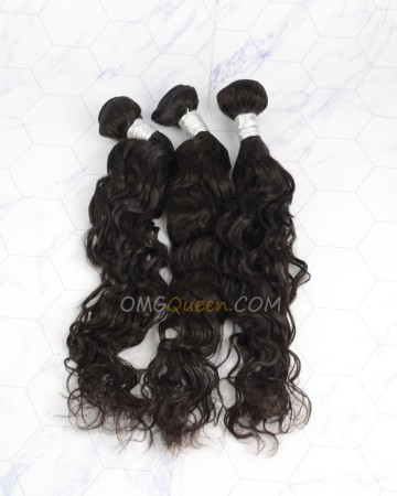 Clearance Natural Color Virgin Brazilian Hair Natural Curly Bundles and Closure [SD48]