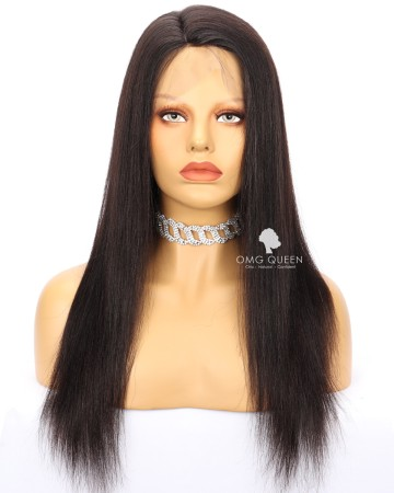 Clearance 18in Natural Color Yaki Straight Silk Top Full Lace Wig Large size [CS178]