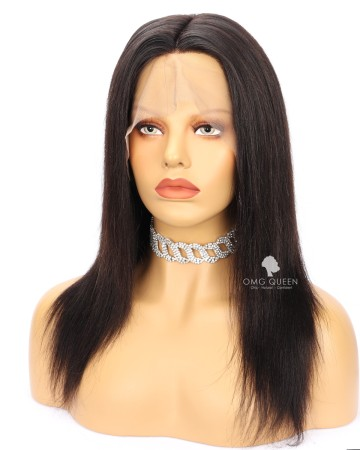 Clearance Natural Color 12in Yaki Straight Lace Front Wig with 4X5 Silk Top 150% Density Large Size [CS188]