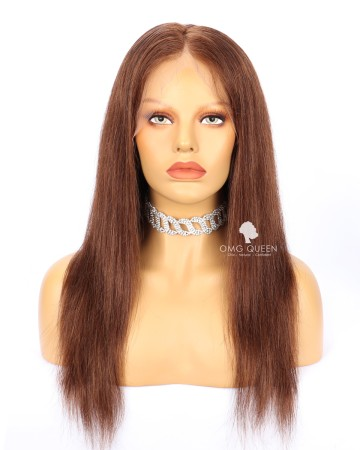 Clearance #4 Light Brown 16in Silky Straight 130% Density CapA Full Lace Wig [CS199]