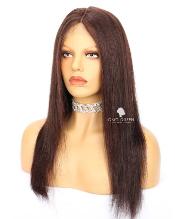 Clearance 16in Silky Straight #2 Dark Brown Glueless Lace Front Wig Malaysian Virgin  Hair [CS207]