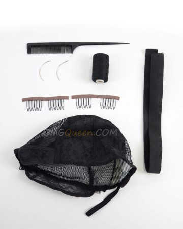 Making Wig Set, One Weaving Cap,Four Wig Combs,Two Needles, One Thread,One Tail Comb,20inches Bands [CT22]