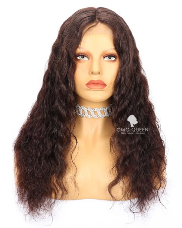 Clearance #2 Dark Brown 18in 130% Density Body Wave Glueless Lace Front  Wig Small Size  [CS210]