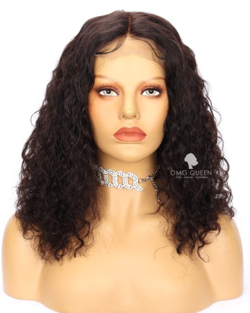 Clearance 14in Natural Curly Bob Wigs Malaysian Virgin Glueless Lace Front Wig [CS225]