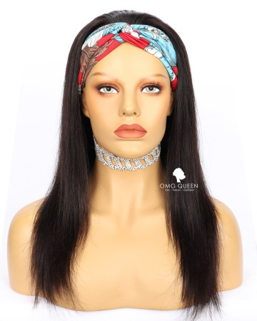 Affordable Virgin Human Hair Silky Straight  Headband Wig [HBW01]