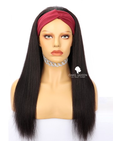 Affordable Virgin Human Hair Yaki Straight Headband Wig [HBW06]