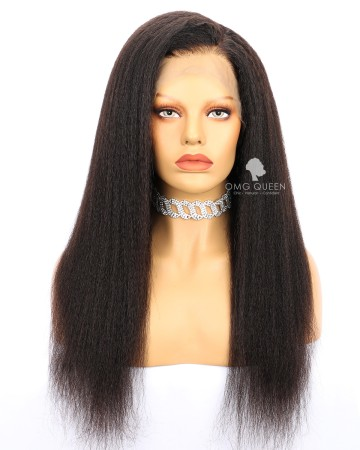 High Quality Natural Color Kinky Straight Malaysian Virgin Hair Lace Front Wigs Human Hair Wig [MLW06]