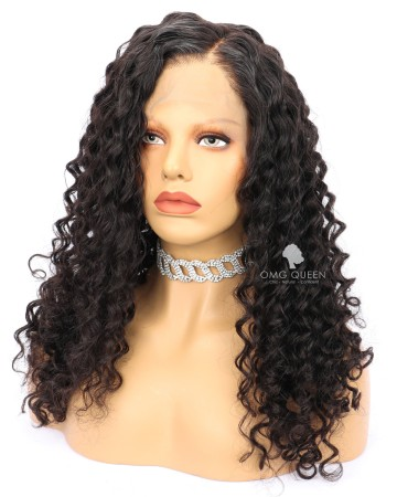 Deep Wave High Quality Natural Color Indian Virgin Hair Full Lace Wigs [IFW07]