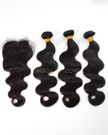 Indian Virgin Hair Body Wave Natural Color One Closure With 3pcs Hair Weaves Natural Color High Quality Hair [IBC12]