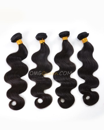 High Quality Indian Virgin Hair Body Wave Natural Color 4pcs Hair Weave/Weft [IHW32]