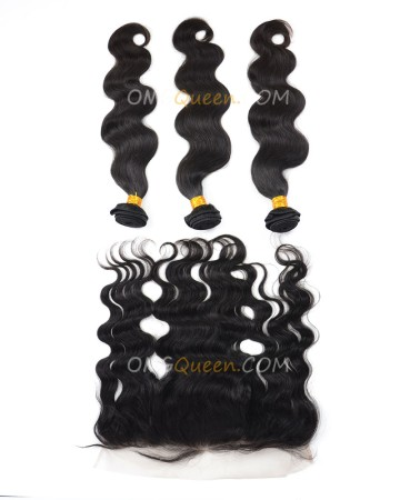 High Quality Body Wave Natural Color One Lace Frontal With 3pcs Hair Weaves Indian Virgin Hair [IBC32]