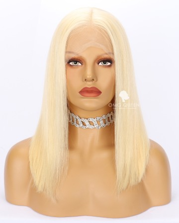 High Quality Silky Straight Blonde #613 Bob Lace Wig Human Hair Lace Wig [IMW18]