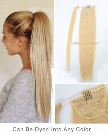 High Quality #613 White Blonde Ponytail Indian Virgin Hair Extensions DIY DYE Color [IHP01]