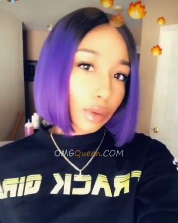 High Quality Ombre Purple Bob Lace Wig Malaysian Virgin Hair [MMW01]