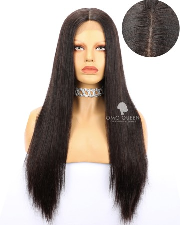 High Quality Indian Virgin Hair Natural Color Silky Straight Silk Base Lace Wigs [ISW01]