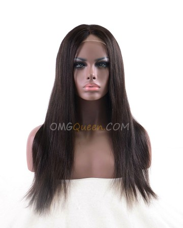 Highest Quality Indian Virgin Hair 18in Yaki Straight Lace Front Wig 130% Density 3 Colors Available [CS40]