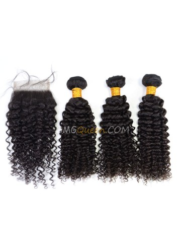 Curly Wave Indian Virgin Hair Natural Color One Closure With 3pcs Hair Weaves High Quality Hair [IBC19]
