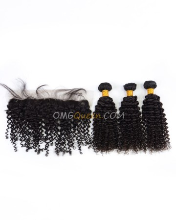 High Quality Indian Virgin Hair Curly Wave Natural Color One Lace Frontal With 3pcs Hair Weaves [IBC35]