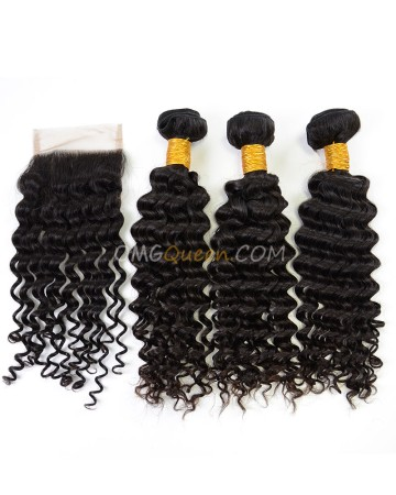 Indian Virgin Hair Natural Color Deep Wave One Closure With 3pcs Hair Weaves High Quality Hair [IBC18]