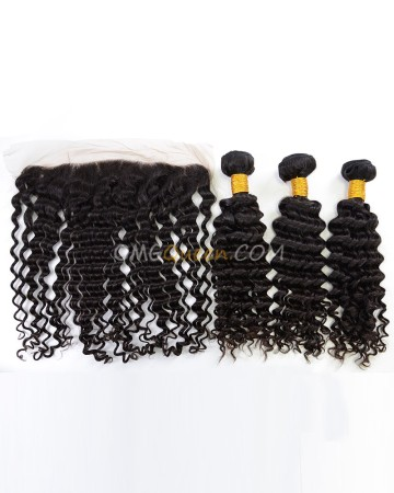 Indian Virgin Hair High Quality Deep Wave Natural Color One Lace Frontal With 3pcs Hair Weaves [IBC34]