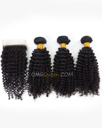 Kinky Curl Natural Color Indian Virgin Hair One Closure With 3pcs Hair Weaves High Quality Hair [IBC14]