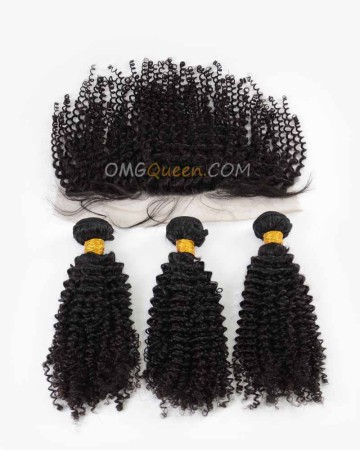 High Quality Indian Virgin Hair Kinky Curl Natural Color One Lace Frontal With 3pcs Hair Weaves [IBC37]