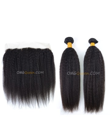 Kinky Straight High Quality Natural Color Hair One Lace Frontal With 2pcs Hair Weaves Indian Virgin Hair [IBC39]