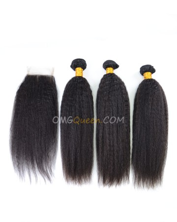 Indian Virgin Hair Kinky Straight Natural Color One Closure With 3pcs Hair Weaves High Quality Hair [IBC15]