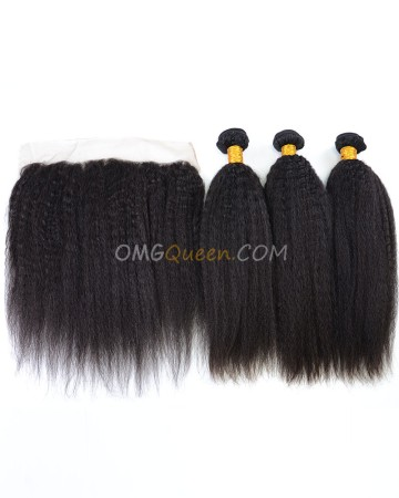 Kinky Straight High Quality Indian Virgin Hair Natural Color One Lace Frontal With 3pcs Hair Weaves [IBC38]