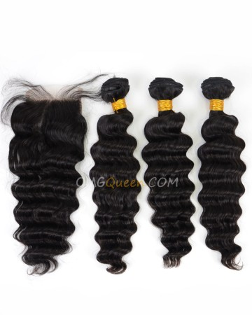 Milan Curl Indian Virgin Hair Natural Color One Closure With 3pcs Hair Weaves High Quality Hair [IBC13]