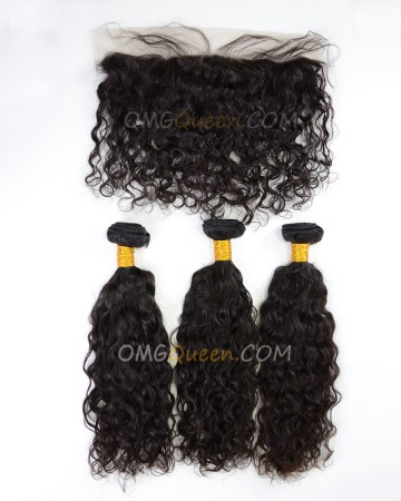 High Quality Indian Virgin Hair Natural Curly Natural Color One Lace Frontal With 3pcs Hair Weaves [IBC36]