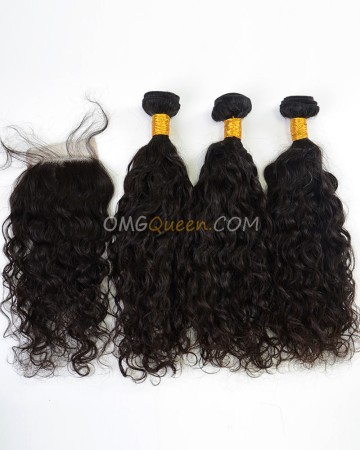 Indian Virgin Natural Color Hair Natural Curly One Closure With 3pcs Hair Weaves High Quality Hair [IBC17]