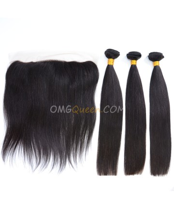 Natural Color One Lace Frontal With 3pcs Hair Weaves Indian Virgin Hair Silky Straight High Quality Hair [IBC31]